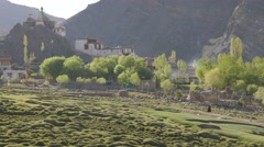 Shukpachan village early in the morning,Hemis Shukpachan,Ladakh,India Stock Footage
