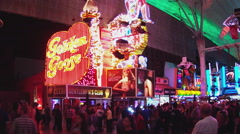 Golden Goose Gentlemens Club Entrance- Fremont Street Las Vegas Stock Footage