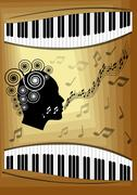 Musical theme with piano keyboard and silhouette face profile of singing woma Stock Illustration