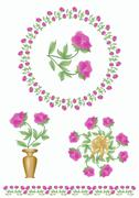 Set of floral motifs with tender light purple roses blossom. Rose in a wreath - stock illustration