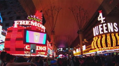 Wide Shot Crowd On Fremont Street- Las Vegas Nevada Stock Footage