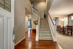 Modern entry way in northwest home. - stock photo