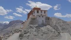 Tingmosgang gompa with clouds,Timishgan,Ladakh,India Stock Footage