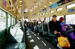 SAN FRANCISCO - MAY 15 2015:Passengers ride on San Francisco's original doubl Stock Photos