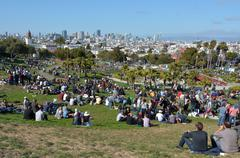 Stock Photo of Visitors at  Mission Dolores Park inSan Francisco, CA