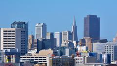 Transamerica Pyramid in San Francisco skyline Stock Photos