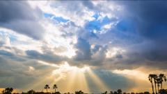 Beautiful Sunbeam Over Rural Landscape (zoom out) Stock Footage