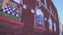 Old Brick Building With Window Murals- Silver City New Mexico Stock Footage