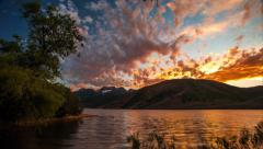 Time lapse at Deer Creek Reservoir with Timpanogos Mountain on the Horizon Stock Footage