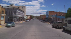 Wide Shot Historic Buildings Downtown Silver City New Mexico Stock Footage