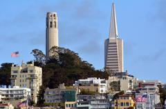 Coit Tower and Transamerica Pyramid dominant San Francisco skyline, CA - stock photo