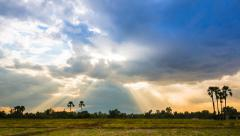 Beautiful Sunbeam Over Rural Landscape (pan shot) - stock footage