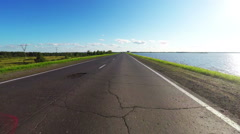 Car road travel at lake coast in Russia. Stock Footage