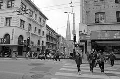 SAN FRANCISCO MAY 19 2015:Chines people and Transamerica Pyramid as seen from - stock photo
