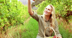 Blonde winegrower handing a red grape - stock footage
