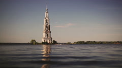 Belfry on island in Russia. Retro colors and slow motion. - stock footage