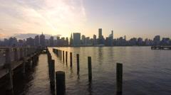 NYC Skyline Sunset Stock Footage