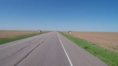 Driving Past Endless Flat Farmland- North Central Texas Stock Footage