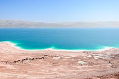 Aerial view Dead Sea coast landscape with therapeutic curative mud Stock Photos