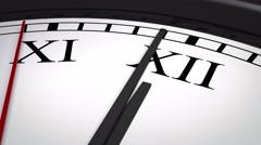 Close-up of a clock with Roman numerals striking twelve Stock Footage