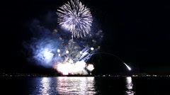 Fireworks On Water - 10 - Loop + Sound - 25fps Stock Footage