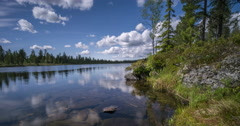 Scandinavian summer mood II, lake and white clouds, wide angle timelapse Stock Footage