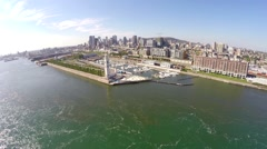 Aerial view over Old Port, Clocktower Quai in Montreal - stock footage