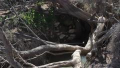 Ancient water cistern in the desert Stock Footage