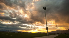 Time Lapse at Sunset from Soccer Field. Stock Footage