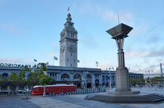 Stock Photo of San Francisco Ferry Building with PCC streetcar