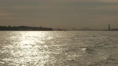 Statue of Liberty in Apocalyptic water with Helicopters and Jet skis - stock footage