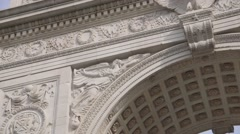 Washing Square Park Arch in NYC close up Stock Footage