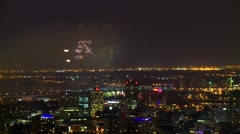 Fireworks over downtown Montreal, Canada - stock footage
