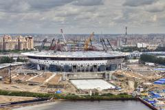 Top view of construction site sports facility, modern football stadium Stock Photos