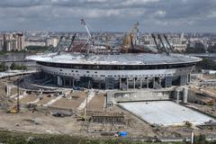 Top view of construction sports facilities, new modern football stadium Stock Photos