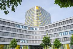 Facade of new modern ADAC headquarters and offices building - stock photo