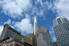 Transamerica Pyramid in San Francisco downtown Stock Photos