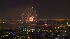 Fireworks over Jacques Cartier bridge in Montreal Stock Footage