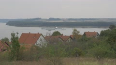 Boat cruises on river Danube bay near Brza Palanka in Eastern Serbia 4K 2160p Stock Footage