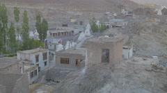 Village with chorten,Alchi,Ladakh,India Stock Footage