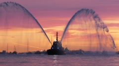 Fire Boat - Splashing Water - Sunset Marina - 01 Stock Footage