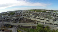 Aerial view over Turcot interchange in Montreal Stock Footage