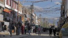 People walking through main bazaar,Leh,Ladakh,India - stock footage