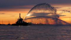 Fire Boat - Splashing Water - Sunset Marina - 08 Stock Footage