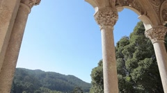 Marble pillars in the palace of Monserrate in Sintra Stock Footage
