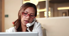 Smiling casual businesswoman having a phone call Stock Footage