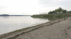 Brza Palanka   Danube scenery panning 4K 2160p UHD footage - Eastern Serbia v Stock Footage