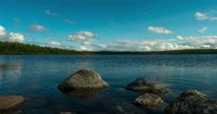 Scandinavian summer mood, lake Jetningen near Gålå, Norway, timelapse Stock Footage