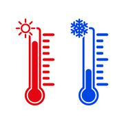 The thermometer icon. High and Low temperature Stock Illustration