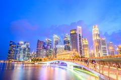 Singapore skyline city at twilight times - bright processing style pictures Stock Photos